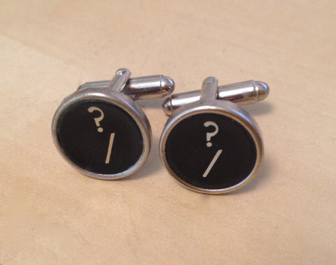 Question Mark Typewriter Key Jewelry Cufflinks. NO GLUE! - Red Dove Studios - 1