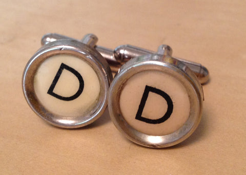 Letter D Typewriter Key Cufflinks - Red Dove Studios - 1