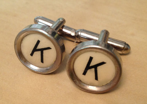 Letter K Typewriter Key Jewelry Cufflinks. NO GLUE! - Red Dove Studios - 1