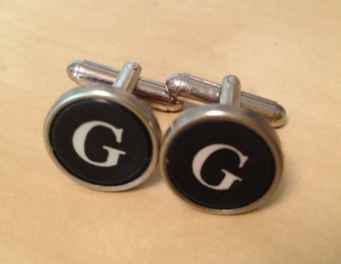 Letter G Vintage Typewriter Custom Cufflinks - No Glue! - Red Dove Studios - 1