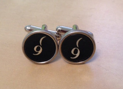 Number 9 Typewriter Key Jewelry Cufflinks.  No GLUE! - Red Dove Studios - 1