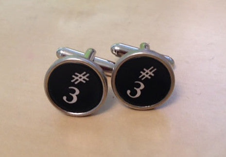 Number 3 Antique Smith Corona Typewriter Cufflinks.  No Glue! - Red Dove Studios - 1