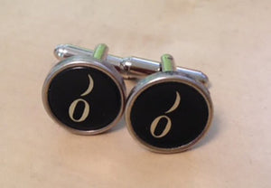 Number Zero Typewriter Key Jewelry Cufflinks.  No Glue! - Red Dove Studios - 1