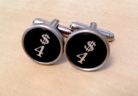Number 4 Antique Typewriter Key Jewelry Cufflinks. No Glue. - Red Dove Studios - 1