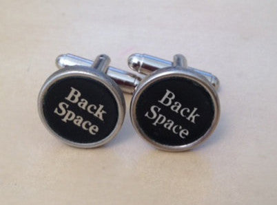 Vintage Back Space Typewriter Key Cufflinks. NO GLUE! - Red Dove Studios - 1