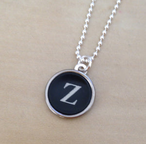 Sterling Silver Letter Z Typewriter Key Necklace - Red Dove Studios - 1