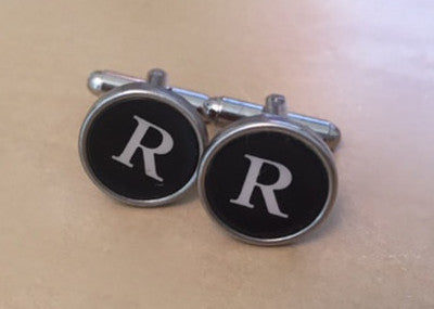 Letter R Vintage Typewriter Key Cufflinks - Red Dove Studios - 1
