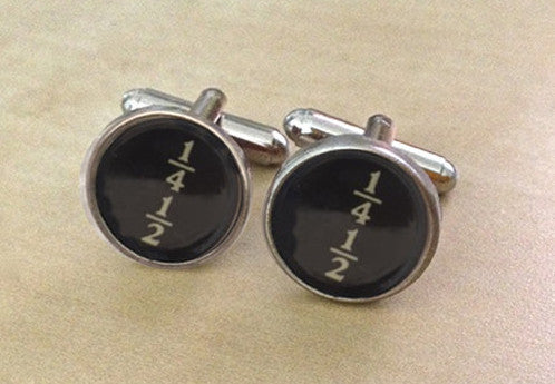 Vintage Fraction Typewriter Key Jewelry Cufflinks - No Glue - Red Dove Studios - 1