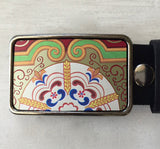 Custom Recycled Asian Themed Belt Buckle - Red Dove Studios - 1