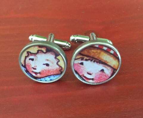Vintage Cherub Faces Tin Metal Cufflinks - Red Dove Studios - 1
