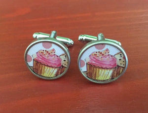 Custom Strawberry Cupcake Cufflinks - Red Dove Studios - 1