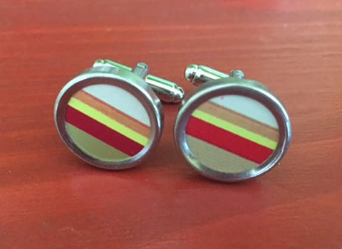 Striped Tin Cufflinks - Red Dove Studios - 1