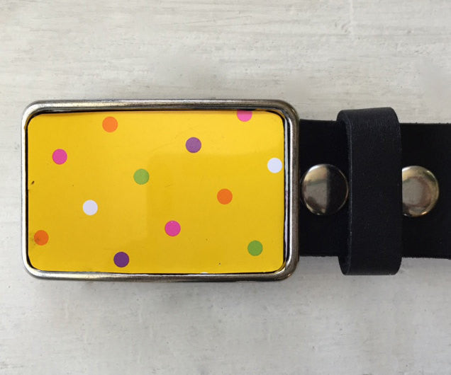 Yellow Polka Dot Tin Belt Buckle - Red Dove Studios - 1