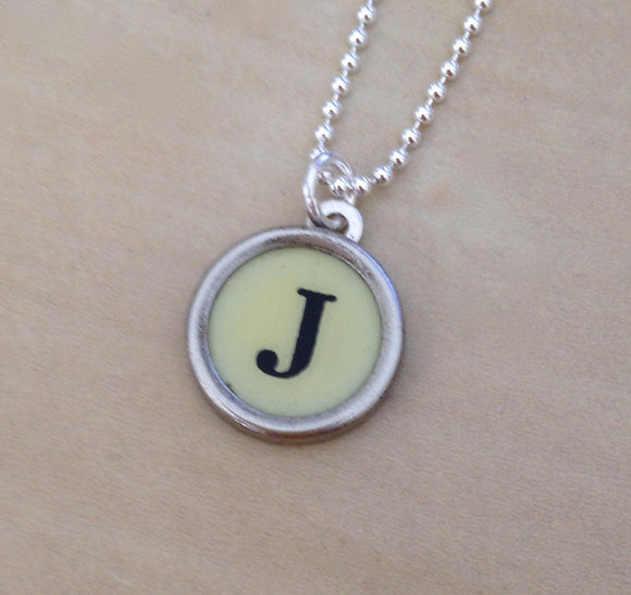 Letter J Sterling Silver Typewriter Necklace - Red Dove Studios - 1