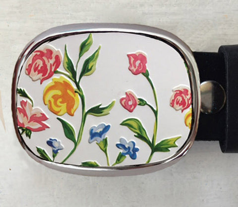 Rounded Tin Spring Flower Belt Buckle - Red Dove Studios - 1