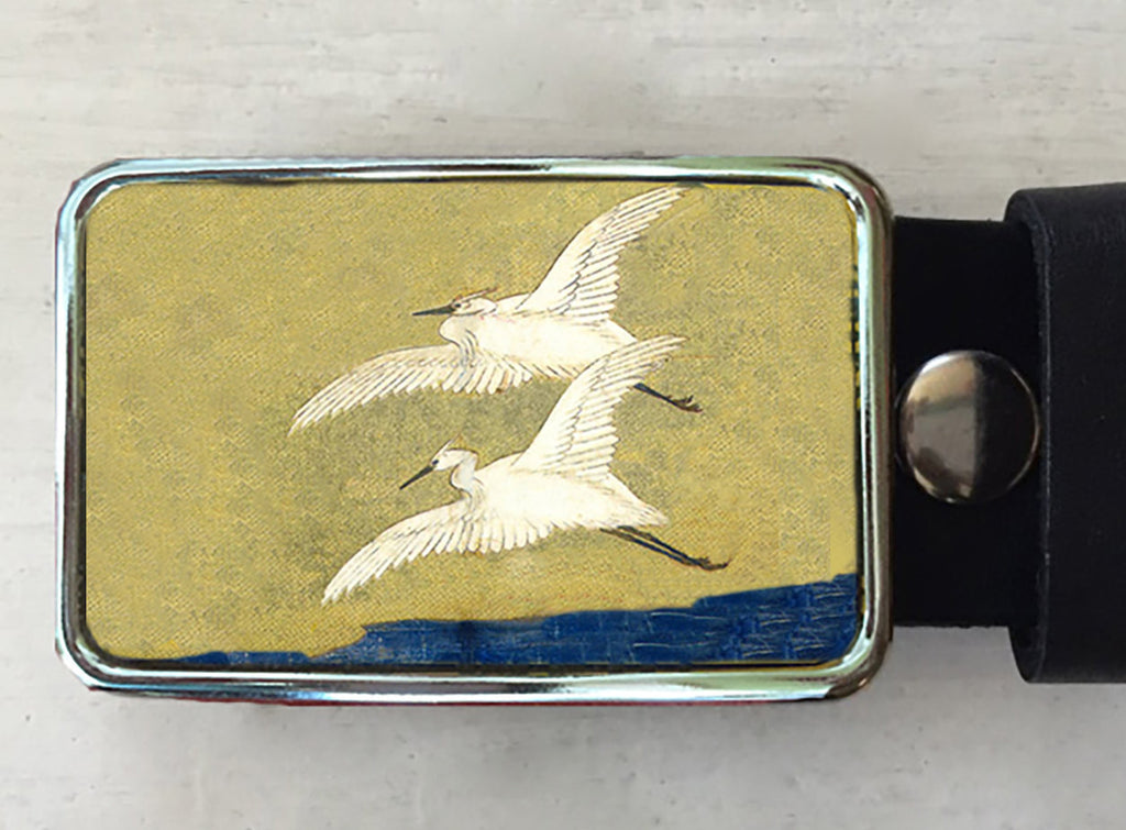 Flying Egret Belt Buckle - Red Dove Studios - 1