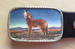 Western Howling Coyote Belt Buckle - Red Dove Studios - 1