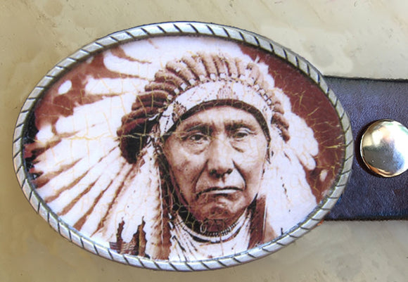Western Native American Indian Chief Belt Buckle - Red Dove Studios - 1