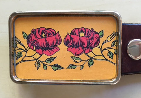 Vintage Red Rose Belt Buckle - Red Dove Studios - 1