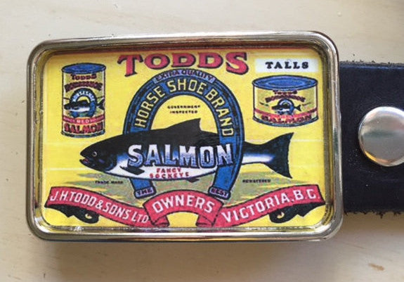 Salmon Fishing Vintage Ad Belt Buckle - Red Dove Studios - 1