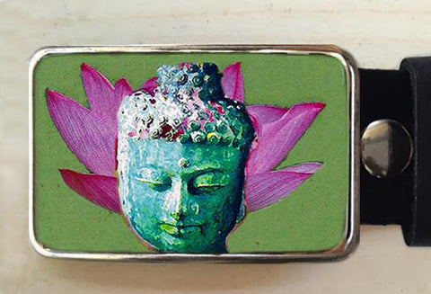 Lotus Flower Belt Buckle with Buddha - Red Dove Studios - 1