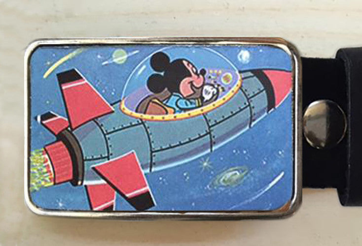 Mickey Rocketship Belt Buckle - Red Dove Studios - 1