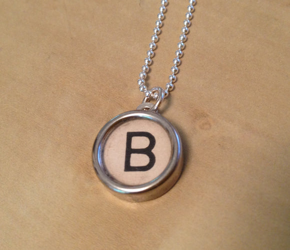 Letter B White Background Typewriter Key Charm Necklace