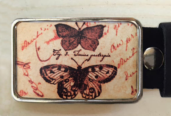 Butterfly Belt Buckle set on handwritten love letter.