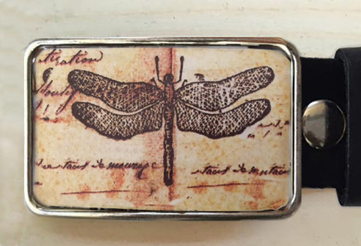 Insect Dragonfly Custom Belt Buckle Red Dove Studios