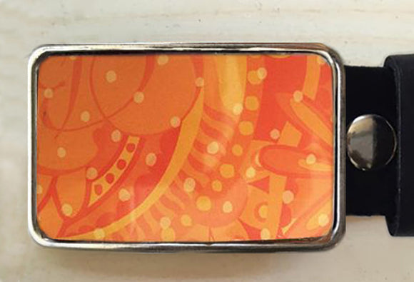 Orange Patterned Tin Belt Buckle - Red Dove Studios - 1