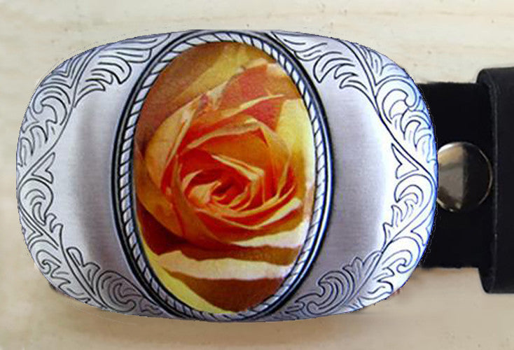 Western Orange Rose Vintage Belt Buckle - Red Dove Studios - 1