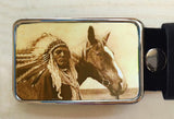 Peaceful Warrior Western Horse Belt Buckle - Red Dove Studios - 1