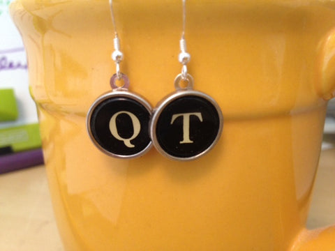 Custom Vintage Typewriter Key Jewelry  - Earrings - Red Dove Studios