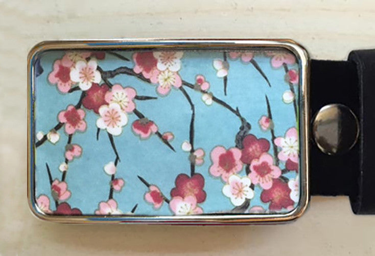 Pink Cherry Blossom Flower Belt Buckle - Red Dove Studios - 1