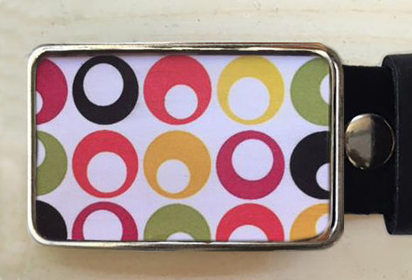 Polka Dot Circles Belt Buckle - Red Dove Studios - 1