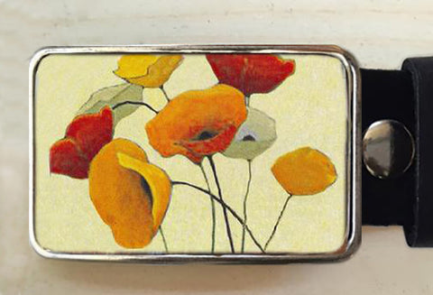 Poppy Flower Belt Buckle - Red Dove Studios - 1