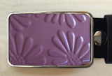 Dark Pink Embossed Flower Tin Belt Buckle - Red Dove Studios - 1