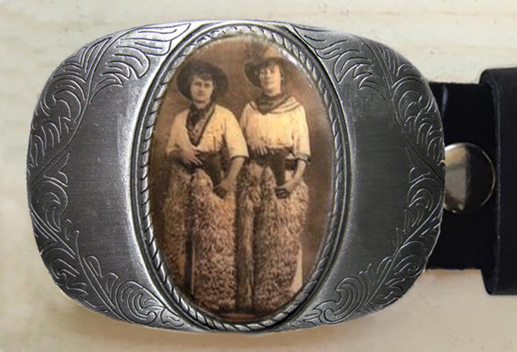 Two Cowgirls Western Belt Buckle - Red Dove Studios - 1