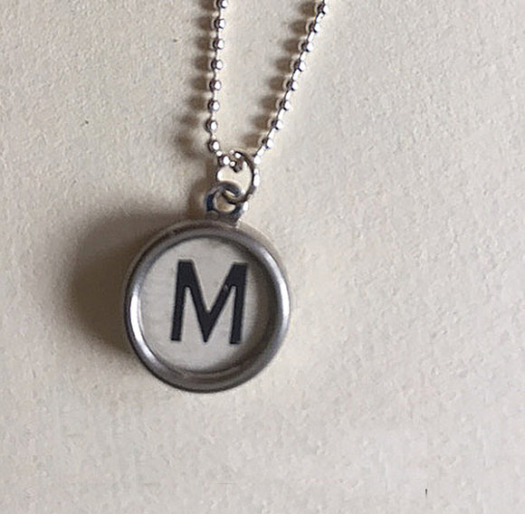 Letter M White Typewriter Key Charm Necklace