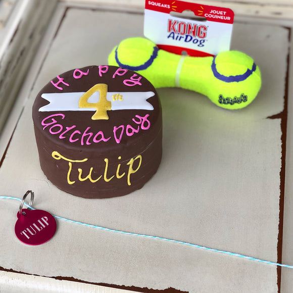Dog Birthday Cake Badge Kong Toy