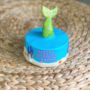 mermaid ocean dog birthday cake