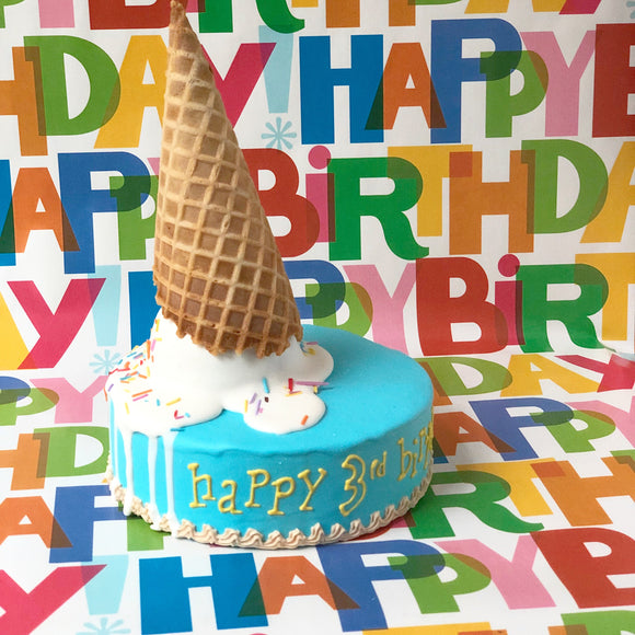 Dog Birthday Ice Cream Cone Cake