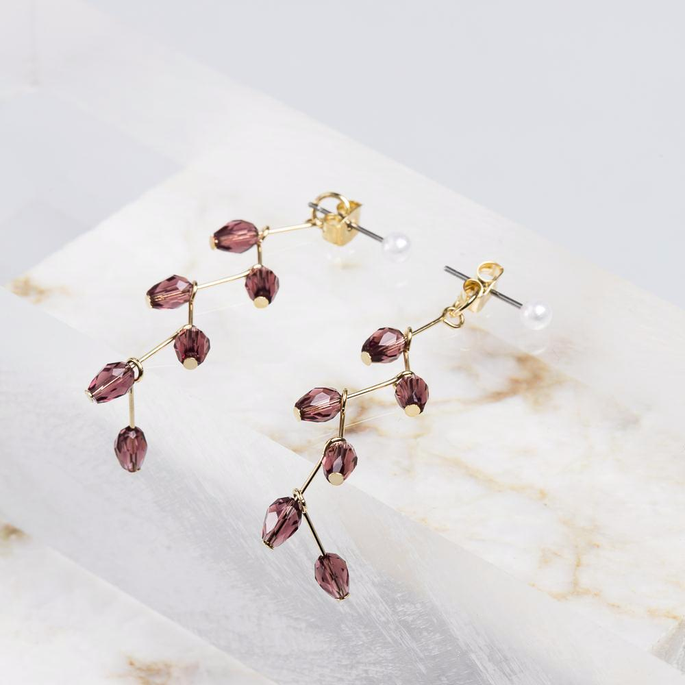 Jewel Elderberry Zig Zag Drop Earrings