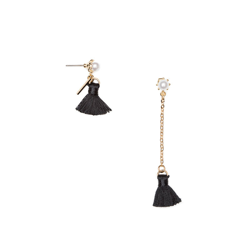 Asymmetrical Chain Tassel Earrings Black