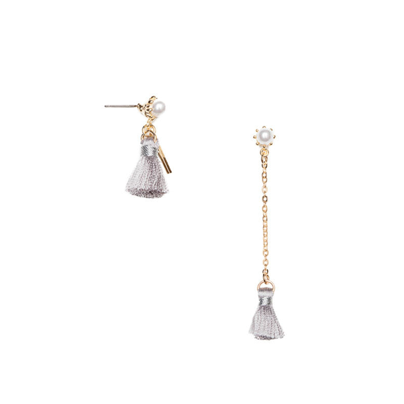 Asymmetrical Chain Tassel Earrings Grey
