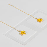Hexagon Pressed Flower Thread Earrings Yellow