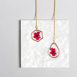 Hexagon Pressed Flower Thread Earrings Red