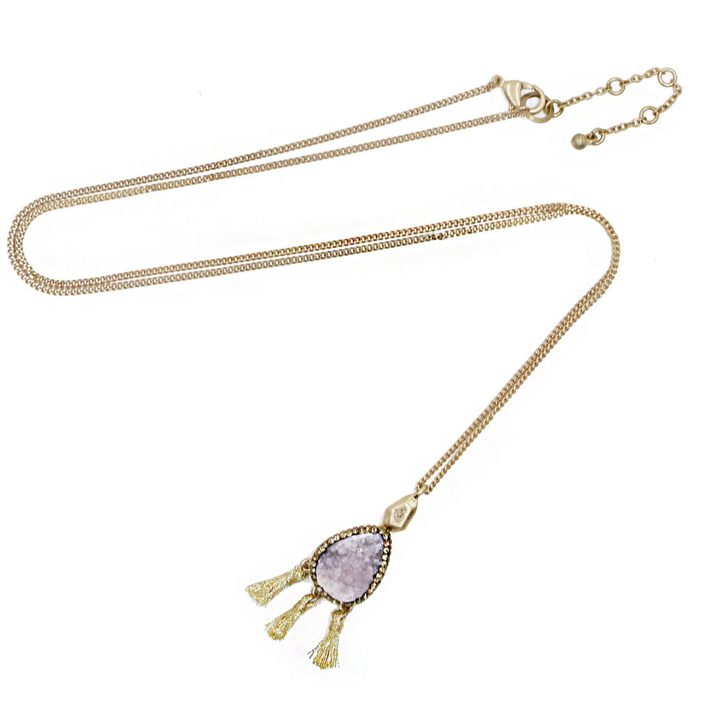 Druzy Tassel Long Necklace Purple