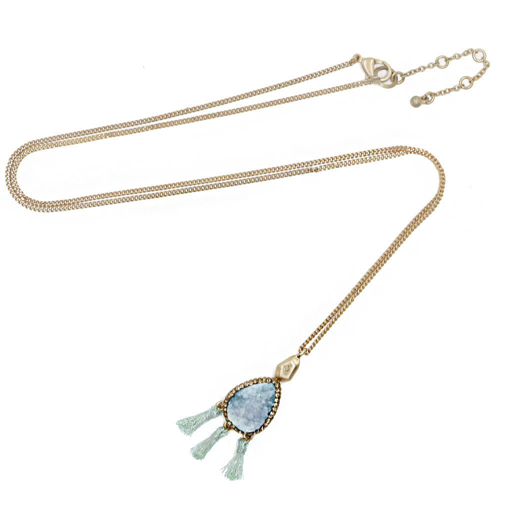 Druzy Tassel Long Necklace Turquoise