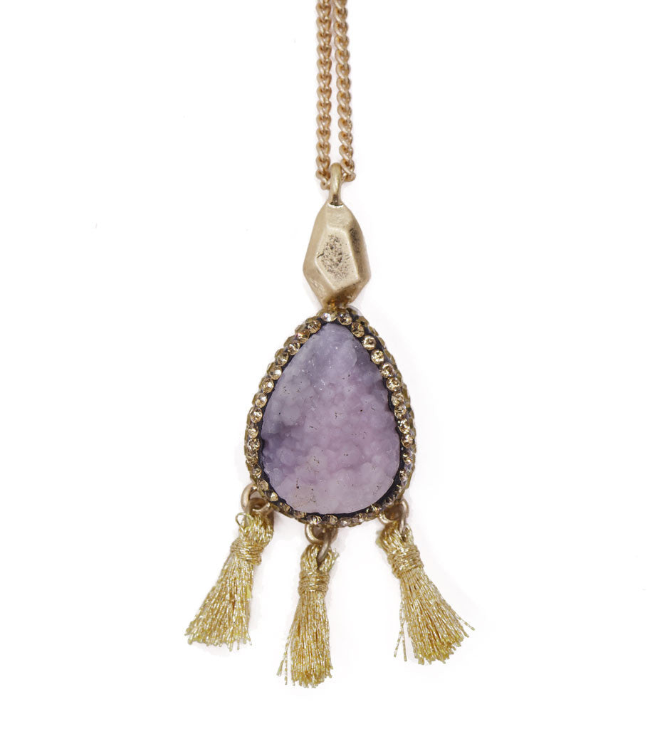 Druzy Tassel Long Necklace